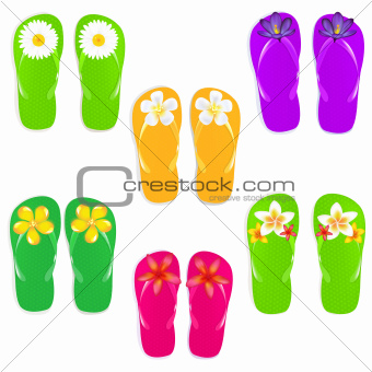 Flip Flops With Color Flowers