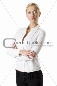 business blonde woman with crossed arms