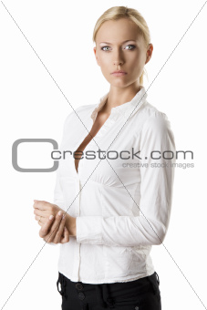 business blonde woman turned of three quarters
