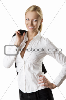 business blonde woman with happy expression