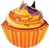 Halloween Cupcake with Spider and Candy Illustration