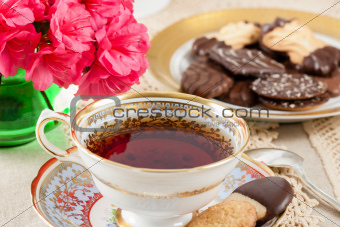Antique Teacup with Cookies