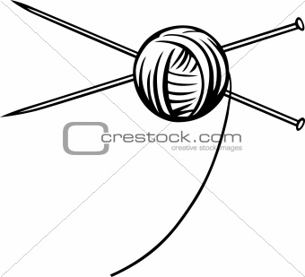 Yarn ball with needles