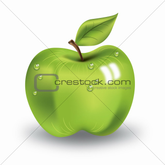 green apple with a leaf and the drops of water