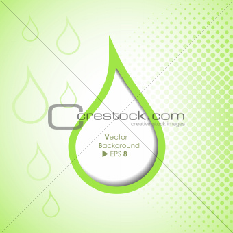 Green drop background with copyspace