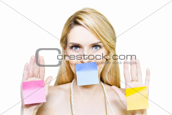 Beautiful woman holding blank message sticky paper