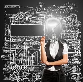 Lamp Head Businesswoman Writing Something