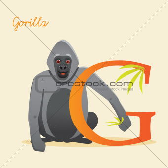 Animal alphabet with gorilla