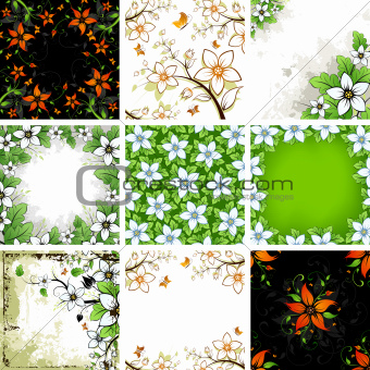 Floral Backgrounds Set