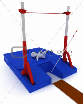 man competing in the pole vault