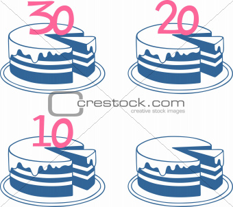 Four birthday cakes