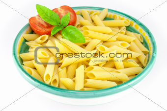 Bowl full of pens pasta with tomatoes and basil