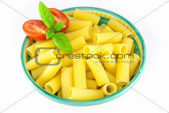 Bowl full of rigatoni pasta with tomatoes and basil