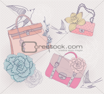 Fashion illustration. Background with fashionable bags, flowers