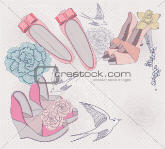 Fashion illustration. Background with fashionable shoes, flowers
