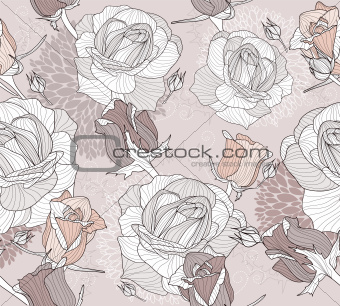Floral pattern. Seamless pattern with flowers and roses.