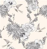 Seamless floral pattern. Seamless pattern with flowers and birds.