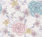 Seamless floral pattern. Seamless pattern with flowers and birds