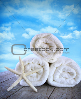 Fluffy fresh towels againt a blue sky