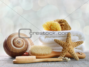 Assortment of  brushes and sponges  on wood surface