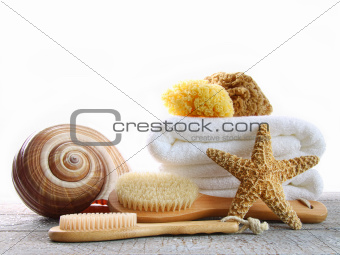Assortment of spa brushes and sponges on white