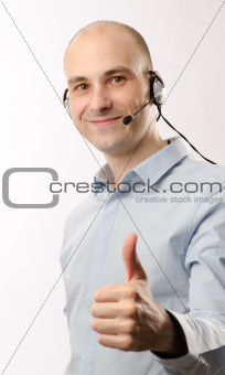 sales representative man with an headset