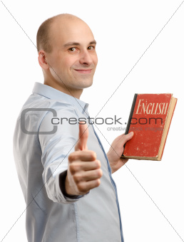 young friendly man with English Dictionary Book