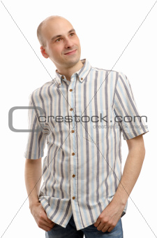 handsome caucasian man looking up