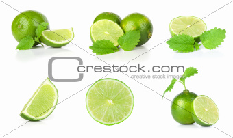 Lime and mint on a white background set