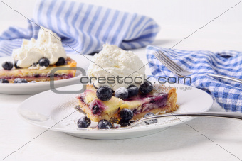 Blueberry lemon tart with whip cream on wood table