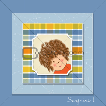 greeting card with curly girl