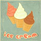 ice cream strawberry, chocolate and vanilla on retro background