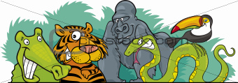 Cartoon Jungle wild animals design