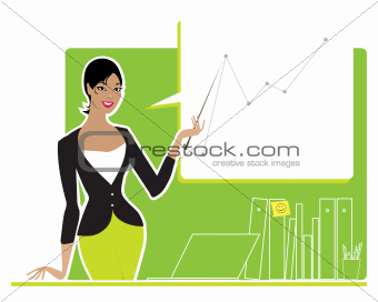 Business woman making a report