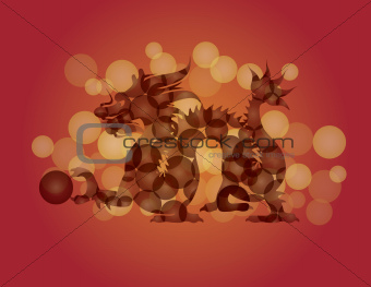 ChineseNew Year Dragon with Ball Illustration