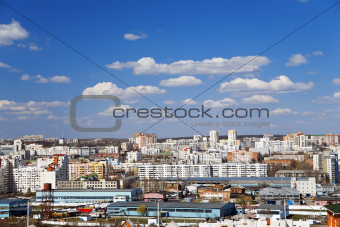 town view with buildings and blue sky