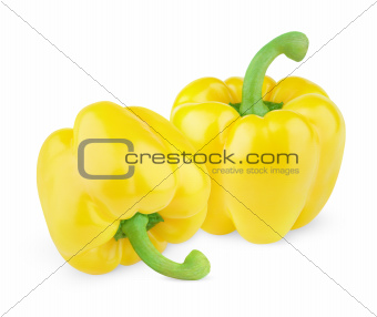 Two sweet yellow peppers
