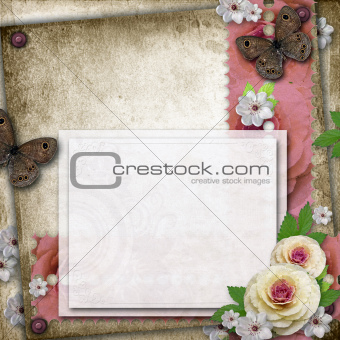 Vintage background with card, butterfly  and roses for congratul
