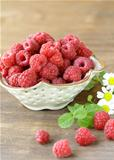 ripe juicy  raspberries with mint leaves