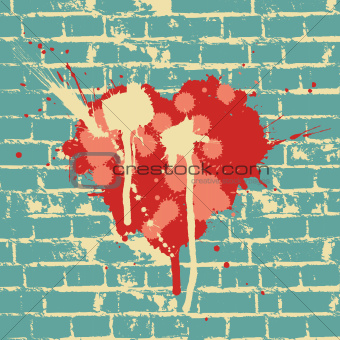 Heart symbol on brick wall, vector.