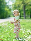 Kid on dandelions field