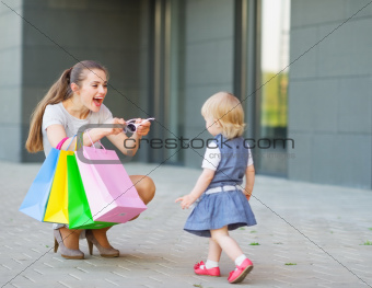 Mother and baby on shopping