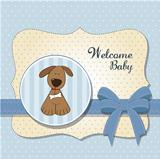 new baby announcement card with dog