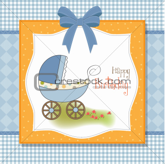 baby card with pram