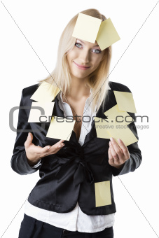 business blonde woman she smiles