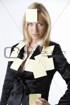 business blonde woman looks in to the lens