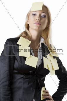 business blonde woman with hand on the hip