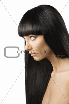 beautiful brunette girl in profile