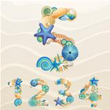 Numbers, vector sea life font on sand background.