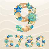 Numbers, vector sea life